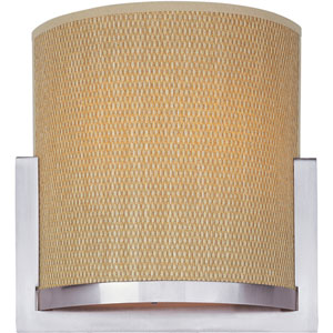 Elements Satin Nickel One-Light Wall Sconce with Grass Cloth Natural Fiber Shade