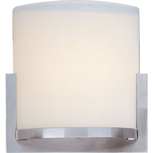 Elements Satin Nickel One-Light Wall Sconce with Satin White Cloth Shade