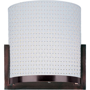 Elements Oil Rubbed Bronze Two-Light Wall Sconce with White Weave Vinyl Shade