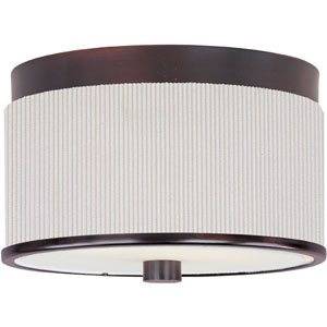 Elements Oil Rubbed Bronze Two-Light Flush Mount with White Pleat Linen Shade