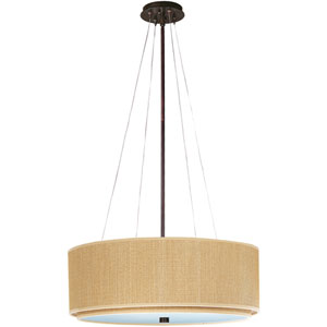 Elements Oil Rubbed Bronze Four-Light Fluorescent 23-Inch Pendant with Round Beige Shade