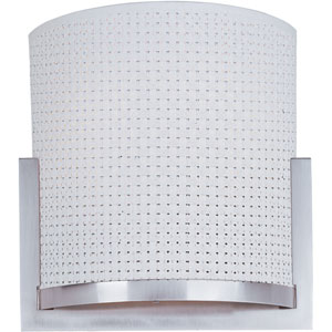 Elements Satin Nickel Two-Light Wall Sconce with White Weave Vinyl Shade