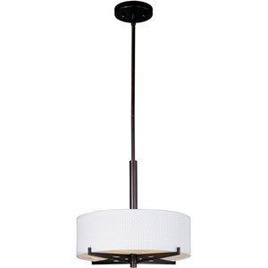 Elements Oil Rubbed Bronze Three-Light 16-Inch Pendant with Round White Shade