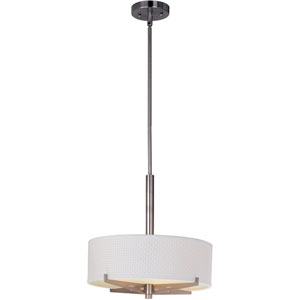 Elements Satin Nickel Three-Light Fluorescent 16-Inch Pendant with Round White Shade