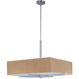 Elements Satin Nickel Four-Light Fluorescent 26-Inch Pendant with Square Beige Shade