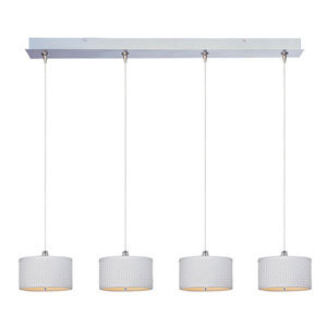 Elements Satin Nickel Four-Light 6-Inch RapidJack High Linear Pendant with Round White Shade