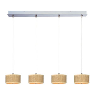 Elements Satin Nickel Four-Light 6-Inch RapidJack Linear Pendant with Round Beige Shade
