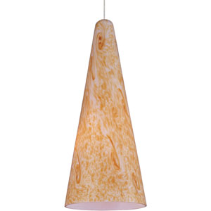 Lava Satin Nickel One-Light 5-Inch RapidJack Mini Pendant Only with Gold Lava Glass
