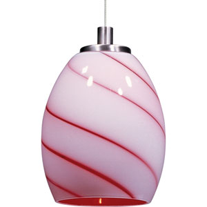 Swirl Satin Nickel One-Light 5-Inch RapidJack Mini Pendant Only with Cherry Swirl Glass