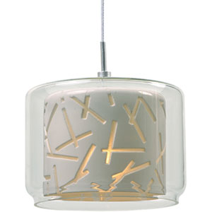 Minx Satin Nickel One-Light RapidJack Mini Pendant with Clear and White Glass Shade