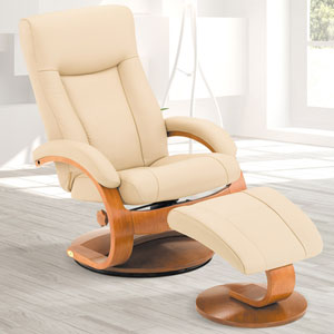 Cobblestone (Tan) Top Grain Leather Swivel, Recliner with Ottoman