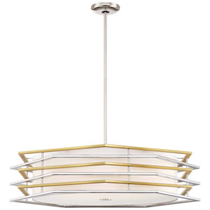 Levels Polished Nickel and Honey Gold LED Pendant with White Linen Shade
