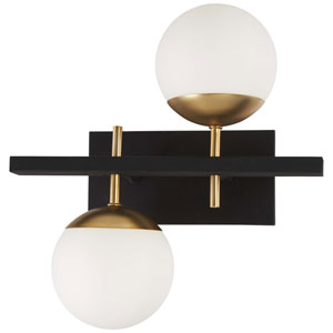 Alluria Weathered Black with Autumn Gold Two-Light Bath Vanity