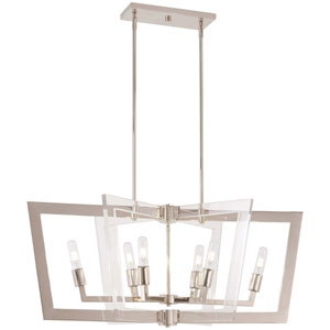Crystal Chrome Polished Nickel Six-Light Island Pendant