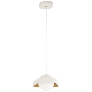 Five-O Textured White with Gold Leaf LED Mini Pendant