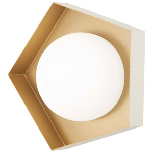 Five-O Textured White with Gold Leaf LED Bath Sconce