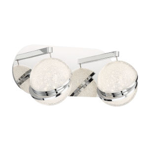 Silver Slice Chrome Seven-Inch Two-Light LED Bath Vanity