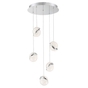 Silver Slice Chrome 16-Inch Five-Light LED Pendant