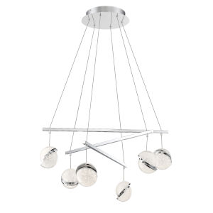 Silver Slice Chrome 30-Inch Six-Light LED Pendant