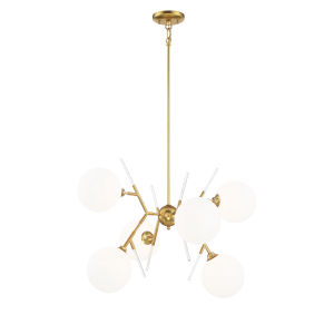 Honey Gold  Six-Light 28-Inch chandelier  With Etched White Glass Glass