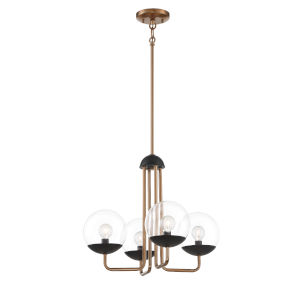 Outer Limits Painted Bronze and Black Four-Light Chandelier