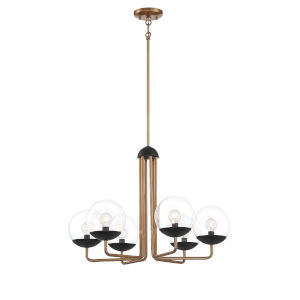 Outer Limits Painted Bronze and Black Six-Light Chandelier