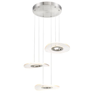 Light Ray Brushed Nickel 17-Inch Three-Light LED Pendant
