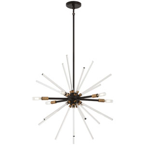 Spiked Painted Bronze with Natural Brass 25-Inch Six-Light Pendant