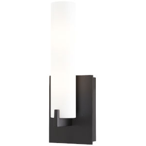 Coal and White Two-Light Bath Sconce with Etched Opal Glass