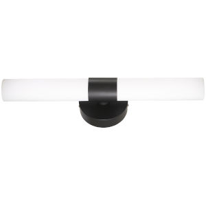Coal and White Two-Light Bath Bar with Etched Opal Glass