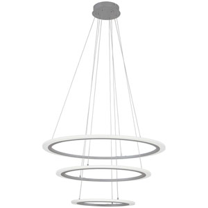 Discovery Silver 32-Inch LED Three-Ring Pendant