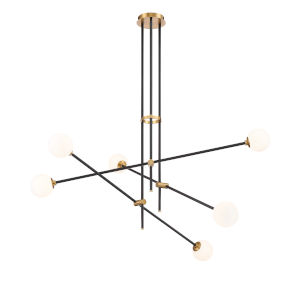 Cosmet Coal and Aged Brass Six-Light Chandelier