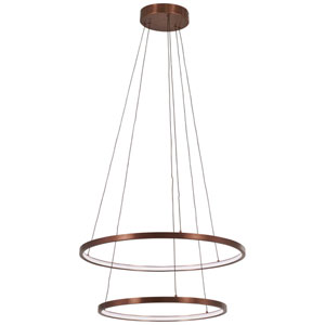 Full Orbit Satin Bronze 24-Inch LED Two-Ring Pendant
