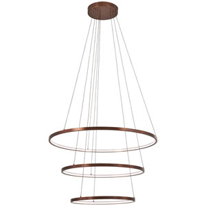 Full Orbit Satin Bronze 32-Inch LED Three-Ring Pendant