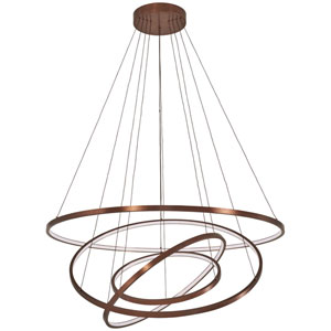 Full Orbit Satin Bronze 40-Inch LED Four-Ring Pendant