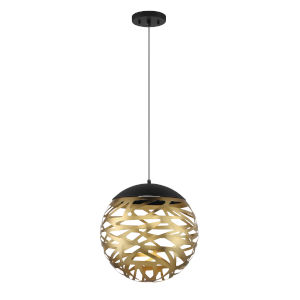Coal and Honey Gold LED 20-Light 14-Inch Pendant With Honey Gold Steel