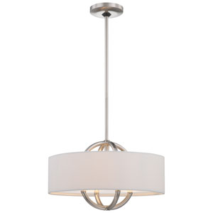 Brushed Nickel Three-Light Drum Pendant