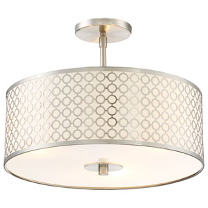 Dots Brushed Nickel Three-Light Semi Flush Mount
