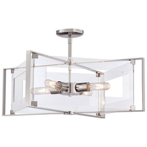 Crystal-Clear Polished Nickel Four-Light Convertible Semi-Flush Mount