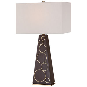 Walnut and Honey Gold Accents One-Light Portable Table Lamp