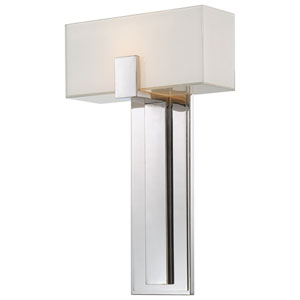 Polished Nickel Wall Sconce w/Mitered Glass & White Inside