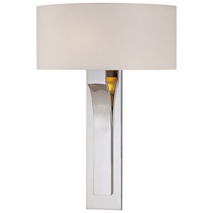 Polished Nickel Wall Sconce w/White Fabric Shade