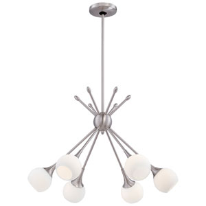 Pontil Brushed Nickel Six-Light Chandelier