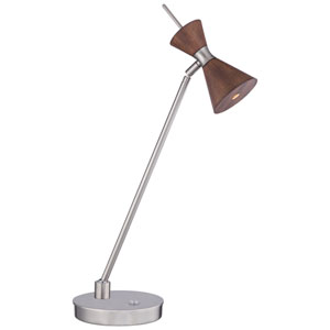 Conic Distressed Koa One-Light 22-Inch High LED Portable Table Lamp