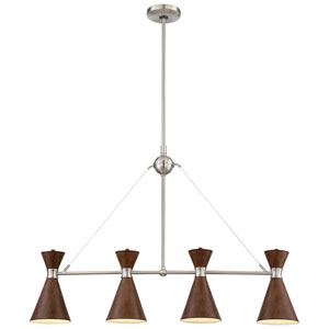 Conic Distressed Koa Four-Light Island Pendant