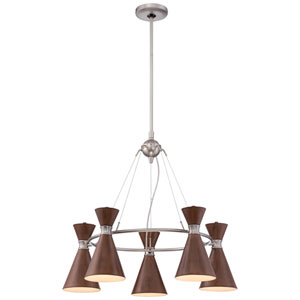 Conic Distressed Koa Five-Light Chandelier