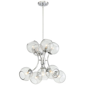 Exposed Chrome Nine-Light Chandelier