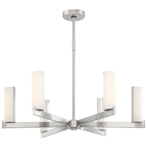 Tube Brushed Nickel Six-Light LED Chandelier