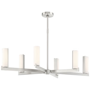 Tube Brushed Nickel Eight-Light LED Pendant