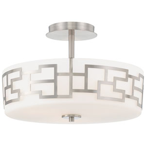 Alecias Necklace Brushed Nickel Three-Light Semi Flush